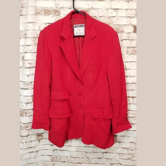 ddda36df31 Moschino Couture Italy red long blazer suit jacket.  M_5b8af2b21537952492324634